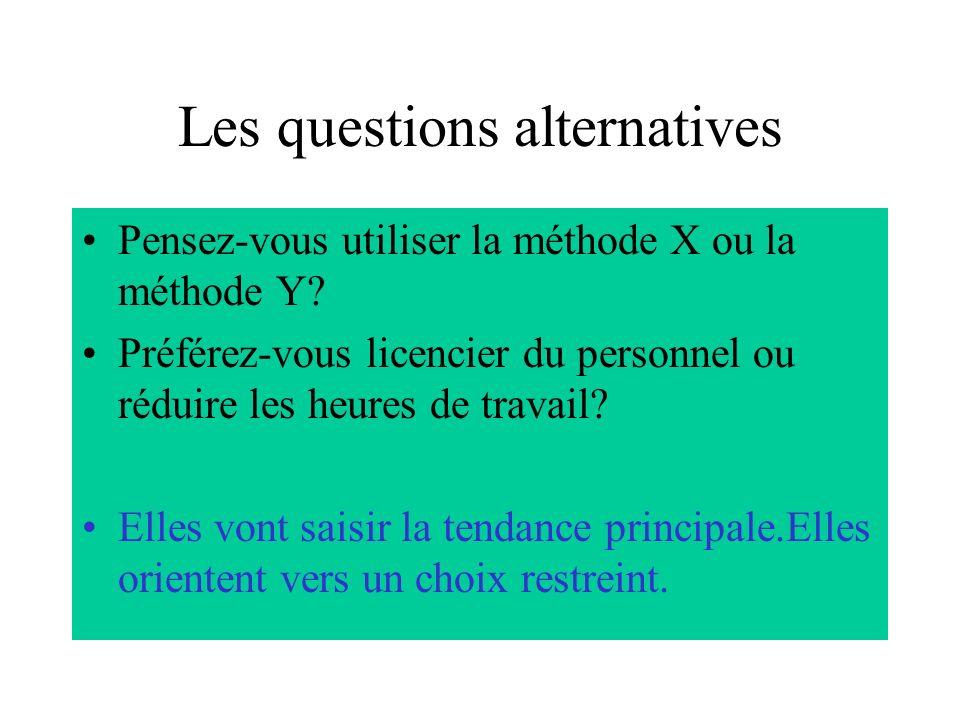 Les questions alternatives Pensez-vous utiliser la méthode X ou la méthode Y.