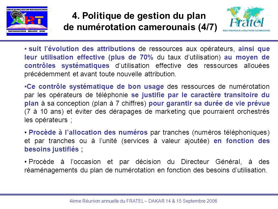 4ème Réunion annuelle du FRATEL – DAKAR 14 & 15 Septembre 2006 4. Politique de gestion du plan de numérotation camerounais (4/7) suit lévolution des a