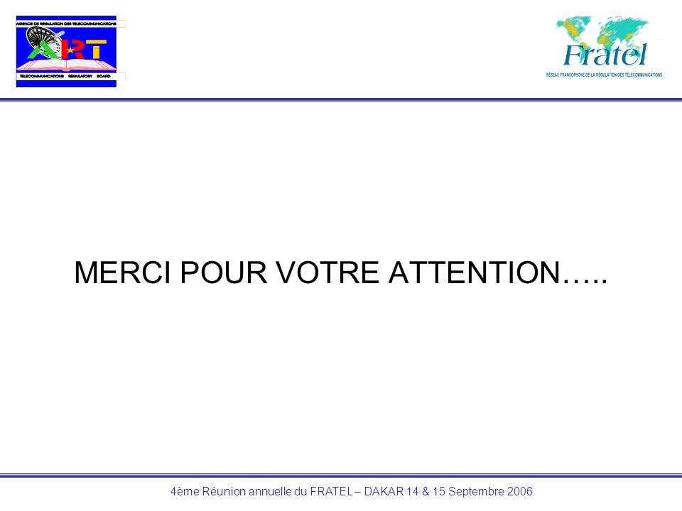 4ème Réunion annuelle du FRATEL – DAKAR 14 & 15 Septembre 2006 MERCI POUR VOTRE ATTENTION…..