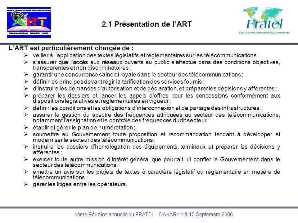 4ème Réunion annuelle du FRATEL – DAKAR 14 & 15 Septembre 2006 2 – PRESENTATION DE LART 2.2 Missions en matière de numérotation Les compétences de l ART sont fixées au chapitre V et particulièrement précisées par les dispositions des articles 31 et 32 de la loi N° 98/014 du 14 juillet 1998 régissant les télécommunications au Cameroun à savoir : Article 31 : LAgence: – établit et gère le plan de numérotation; –garantit un accès égal et simple des utilisateurs aux différents réseaux et services des télécommunications, ainsi que léquivalence des formats de numérotation.