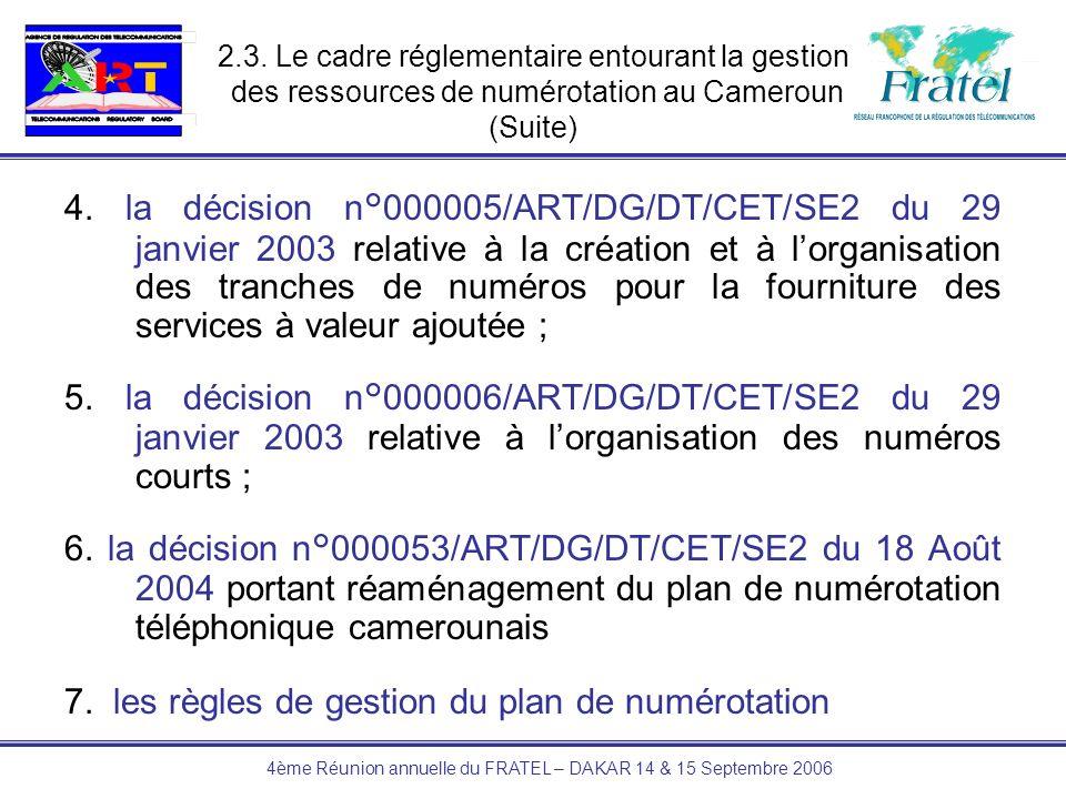 4ème Réunion annuelle du FRATEL – DAKAR 14 & 15 Septembre 2006 4. la décision n°000005/ART/DG/DT/CET/SE2 du 29 janvier 2003 relative à la création et