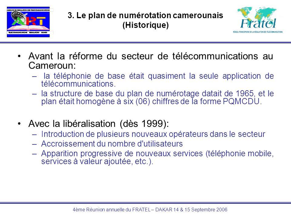 4ème Réunion annuelle du FRATEL – DAKAR 14 & 15 Septembre 2006 3. Le plan de numérotation camerounais (Historique) Avant la réforme du secteur de télé