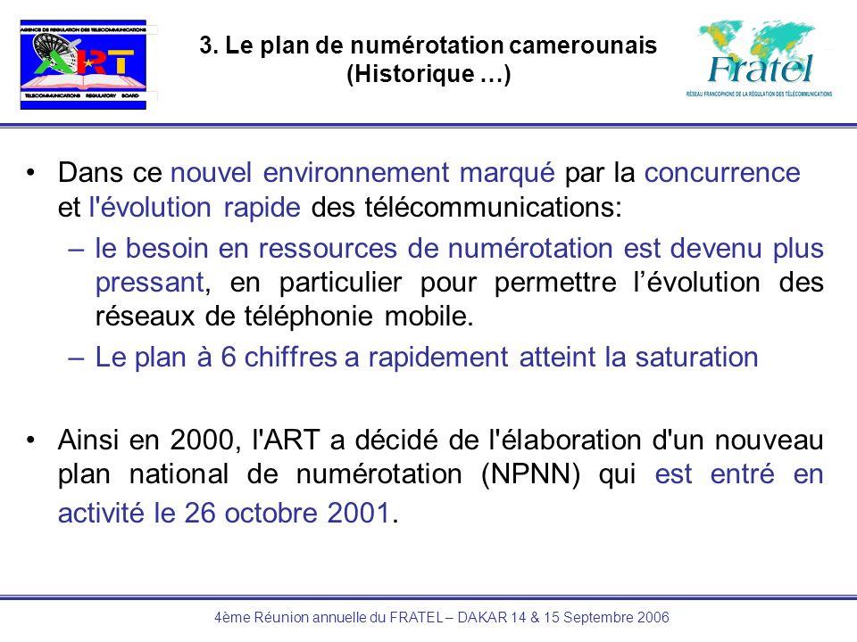 4ème Réunion annuelle du FRATEL – DAKAR 14 & 15 Septembre 2006 3. Le plan de numérotation camerounais (Historique …) Dans ce nouvel environnement marq