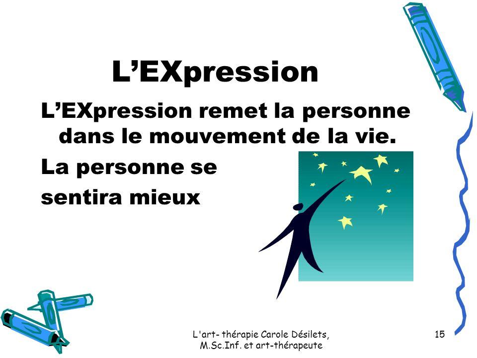 L'art- thérapie Carole Désilets, M.Sc.Inf. et art-thérapeute 15 LEXpression LEXpression remet la personne dans le mouvement de la vie. La personne se