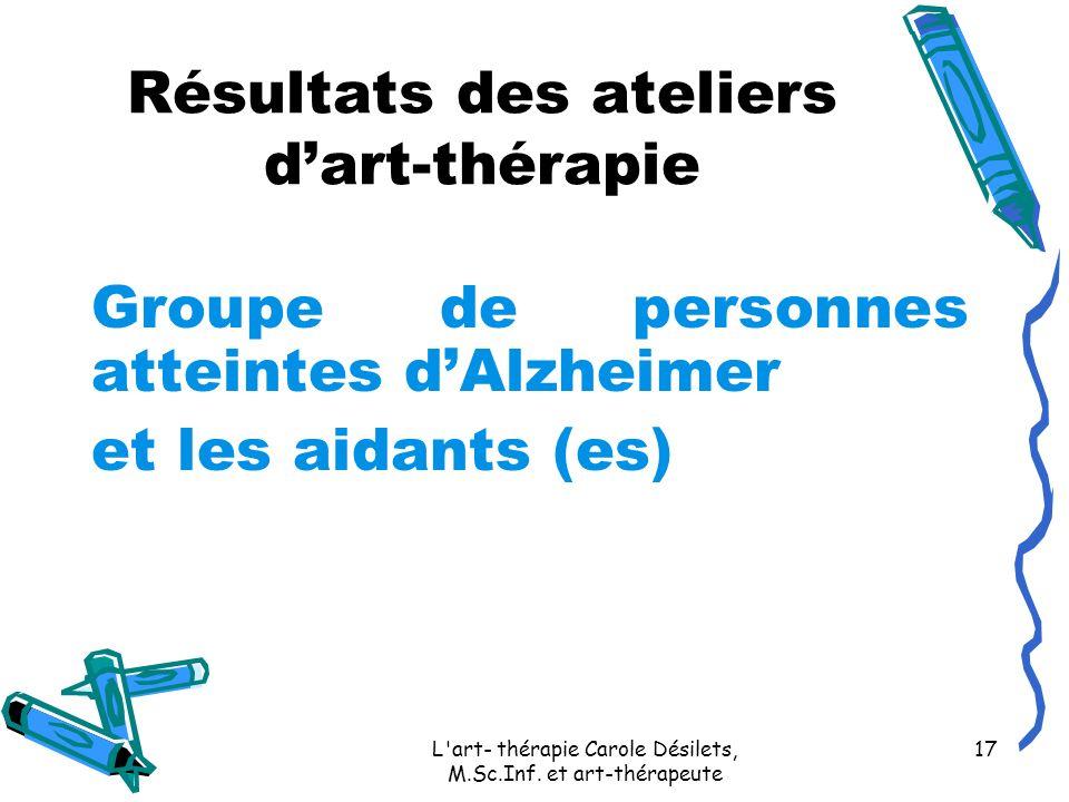 L'art- thérapie Carole Désilets, M.Sc.Inf. et art-thérapeute 17 Résultats des ateliers dart-thérapie Groupe de personnes atteintes dAlzheimer et les a