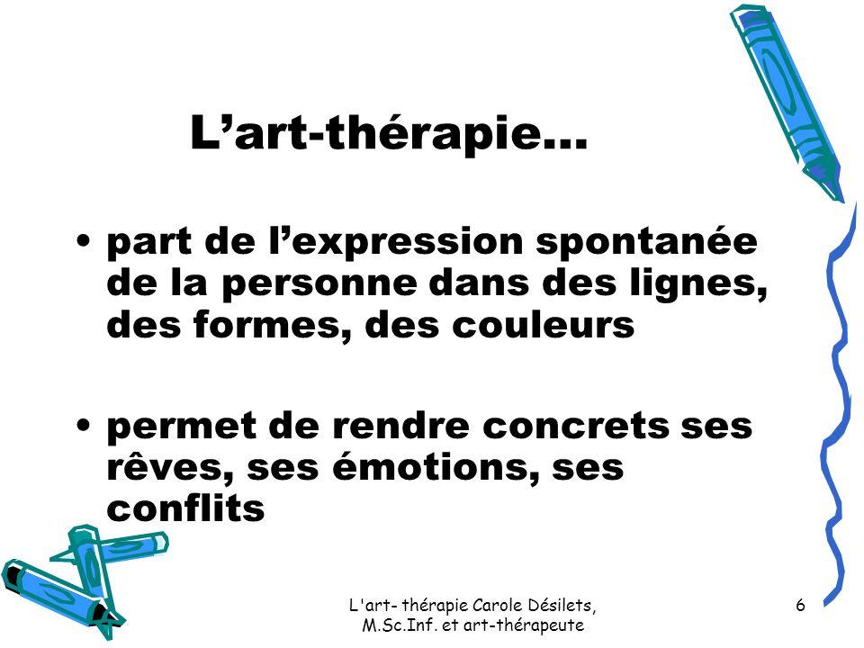 L'art- thérapie Carole Désilets, M.Sc.Inf. et art-thérapeute 6 Lart-thérapie… part de lexpression spontanée de la personne dans des lignes, des formes