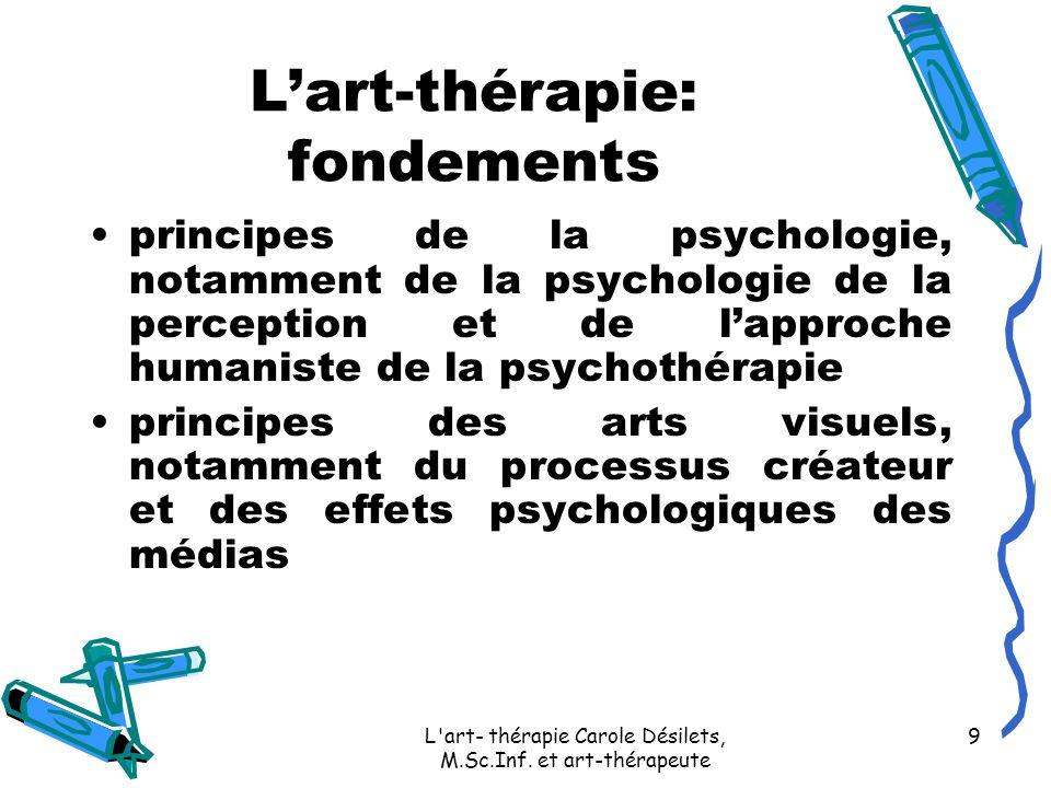 L'art- thérapie Carole Désilets, M.Sc.Inf. et art-thérapeute 9 Lart-thérapie: fondements principes de la psychologie, notamment de la psychologie de l