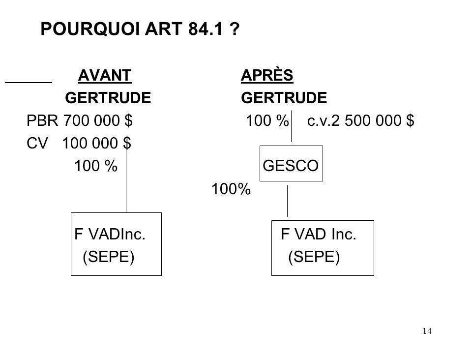 14 POURQUOI ART 84.1 .