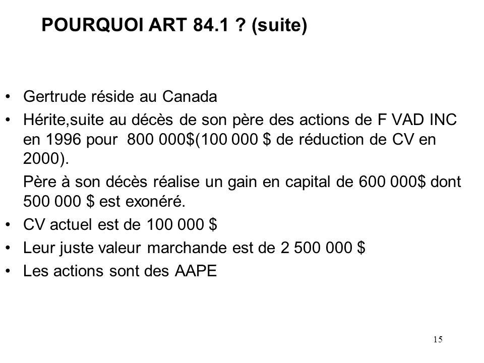 15 POURQUOI ART 84.1 .