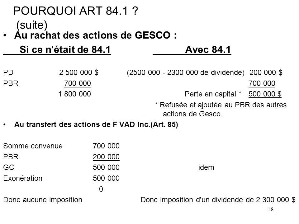 18 POURQUOI ART 84.1 .