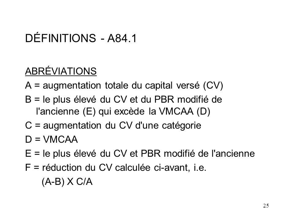 25 DÉFINITIONS - A84.1 ABRÉVIATIONS A = augmentation totale du capital versé (CV) B = le plus élevé du CV et du PBR modifié de l ancienne (E) qui excède la VMCAA (D) C = augmentation du CV d une catégorie D = VMCAA E = le plus élevé du CV et PBR modifié de l ancienne F = réduction du CV calculée ci-avant, i.e.