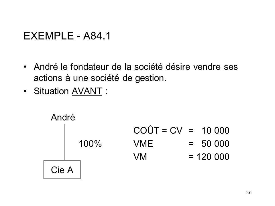 26 EXEMPLE - A84.1 André le fondateur de la société désire vendre ses actions à une société de gestion.
