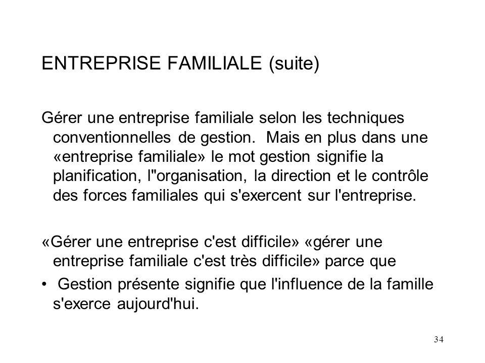 34 ENTREPRISE FAMILIALE (suite) Gérer une entreprise familiale selon les techniques conventionnelles de gestion.