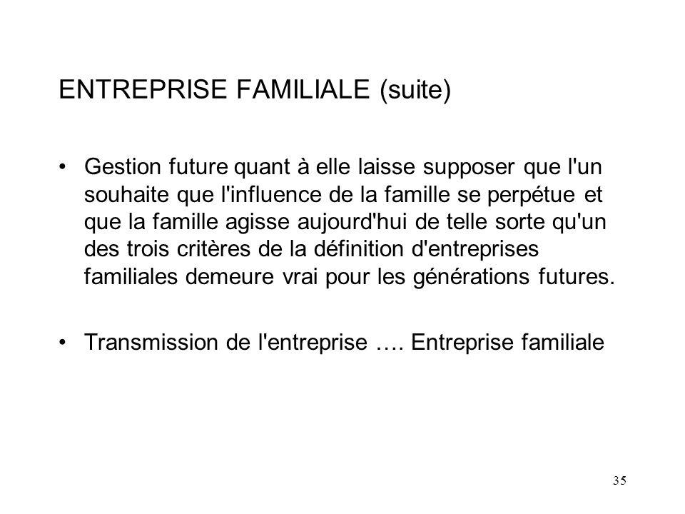 35 ENTREPRISE FAMILIALE (suite) Gestion future quant à elle laisse supposer que l un souhaite que l influence de la famille se perpétue et que la famille agisse aujourd hui de telle sorte qu un des trois critères de la définition d entreprises familiales demeure vrai pour les générations futures.