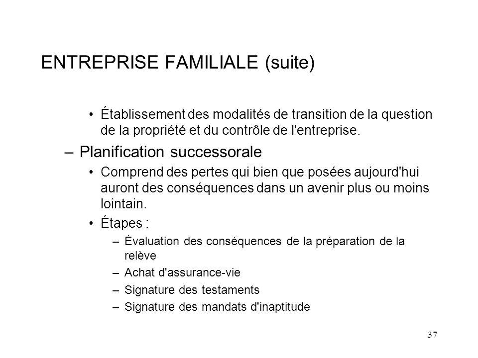 37 ENTREPRISE FAMILIALE (suite) Établissement des modalités de transition de la question de la propriété et du contrôle de l entreprise.