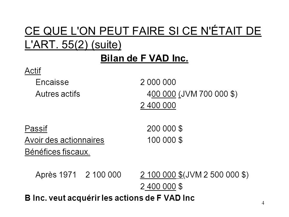 5 CE QUE L ON PEUT FAIRE SI CE N ÉTAIT DE L ART.55(2) (suite).