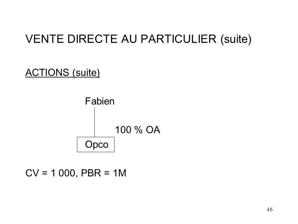 46 VENTE DIRECTE AU PARTICULIER (suite) ACTIONS (suite) Fabien 100 % OA Opco CV = 1 000, PBR = 1M