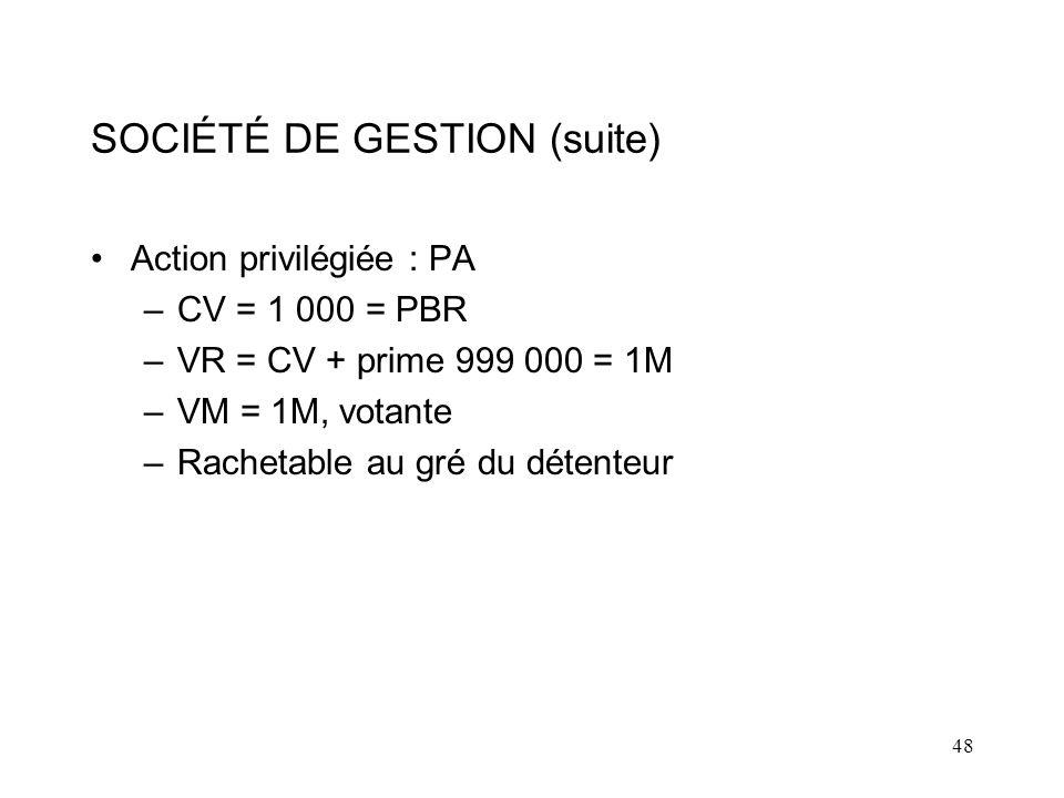 48 SOCIÉTÉ DE GESTION (suite) Action privilégiée : PA –CV = 1 000 = PBR –VR = CV + prime 999 000 = 1M –VM = 1M, votante –Rachetable au gré du détenteur