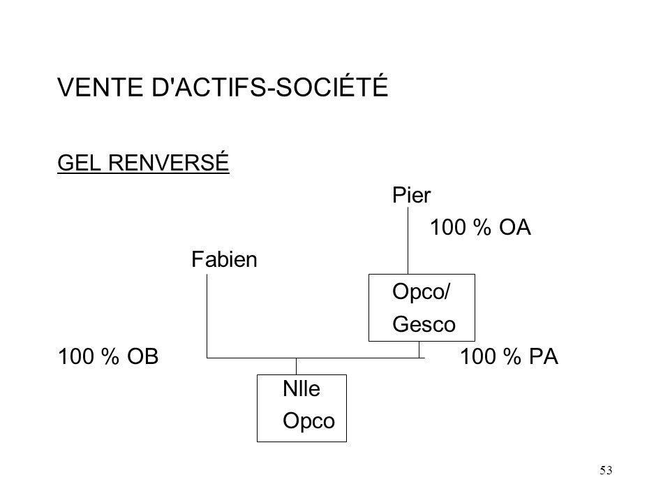 53 VENTE D ACTIFS-SOCIÉTÉ GEL RENVERSÉ Pier 100 % OA Fabien Opco/ Gesco 100 % OB100 % PA Nlle Opco