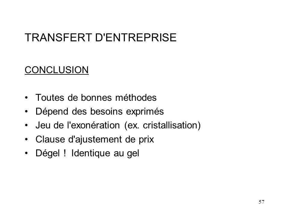 57 TRANSFERT D ENTREPRISE CONCLUSION Toutes de bonnes méthodes Dépend des besoins exprimés Jeu de l exonération (ex.