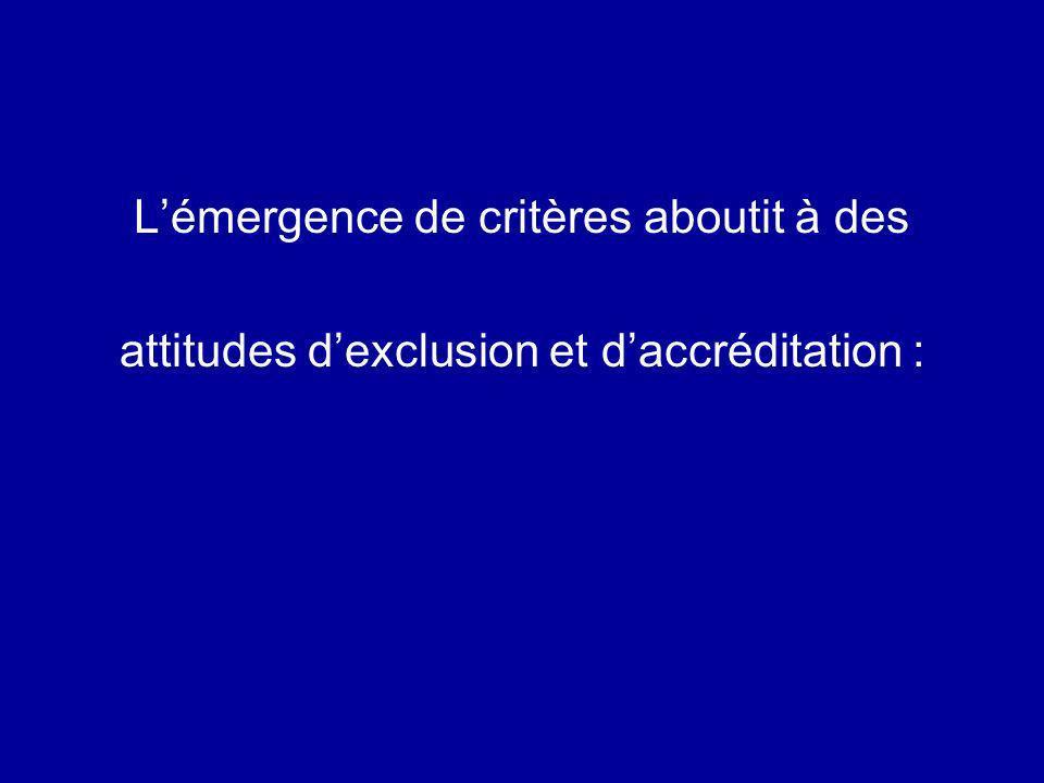 Lémergence de critères aboutit à des attitudes dexclusion et daccréditation :
