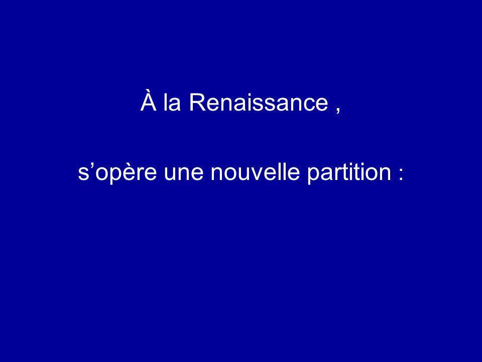 À la Renaissance, sopère une nouvelle partition :