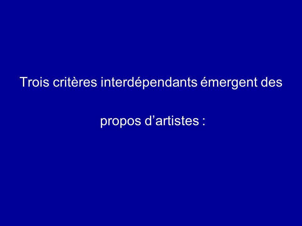 Trois critères interdépendants émergent des propos dartistes :
