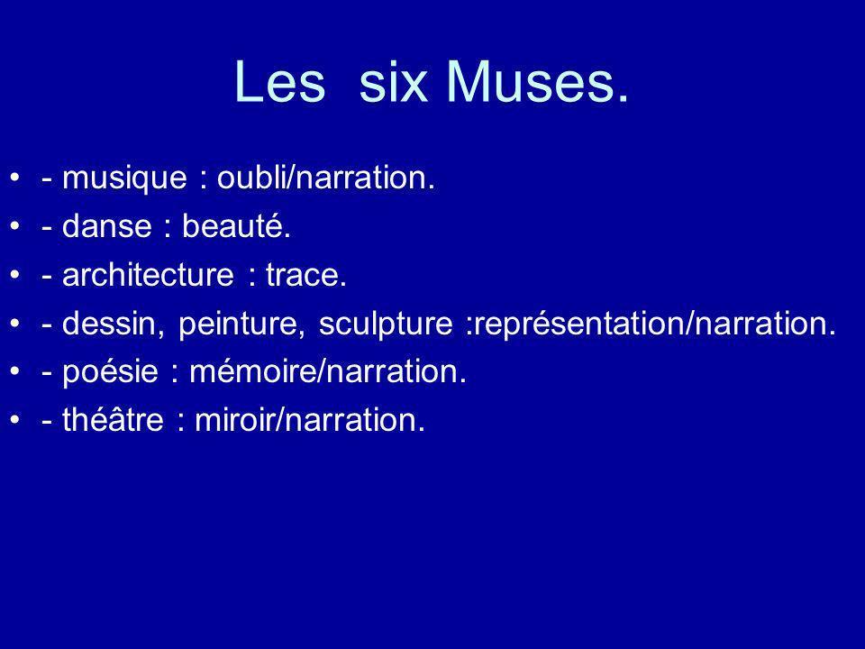 Les six Muses. - musique : oubli/narration. - danse : beauté. - architecture : trace. - dessin, peinture, sculpture :représentation/narration. - poési