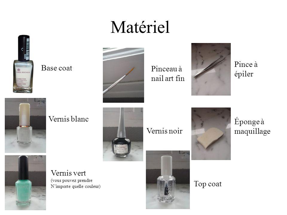 Matériel Base coat Vernis blanc Vernis vert (vous pouvez prendre Nimporte quelle couleur) Pinceau à nail art fin Vernis noir Pince à épiler Éponge à m