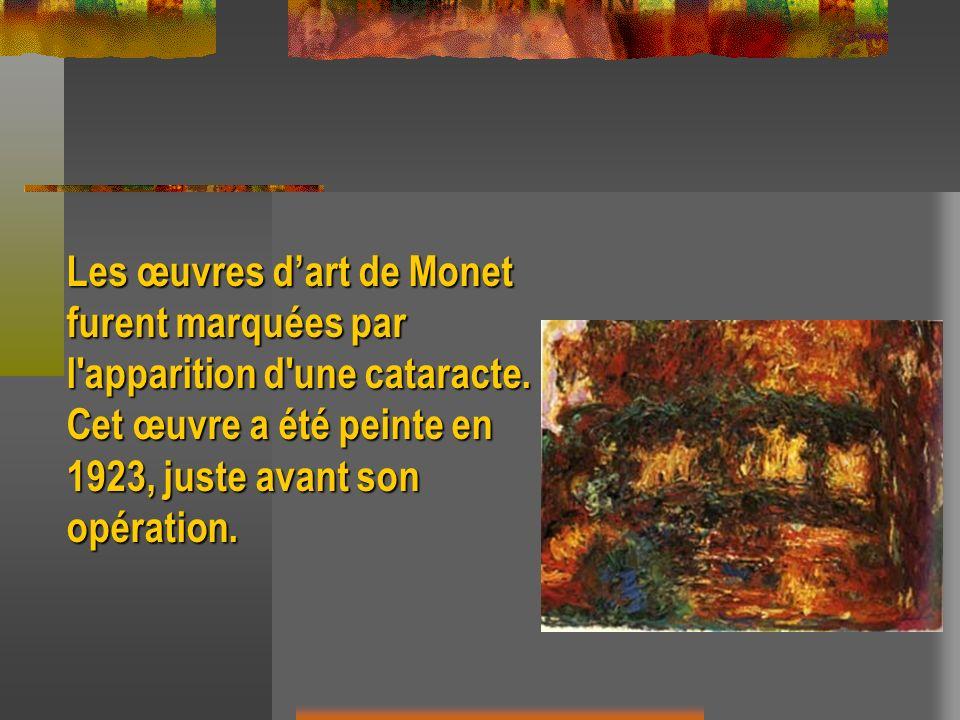 Les œuvres dart de Monet furent marquées par l'apparition d'une cataracte. Cet œuvre a été peinte en 1923, juste avant son opération.