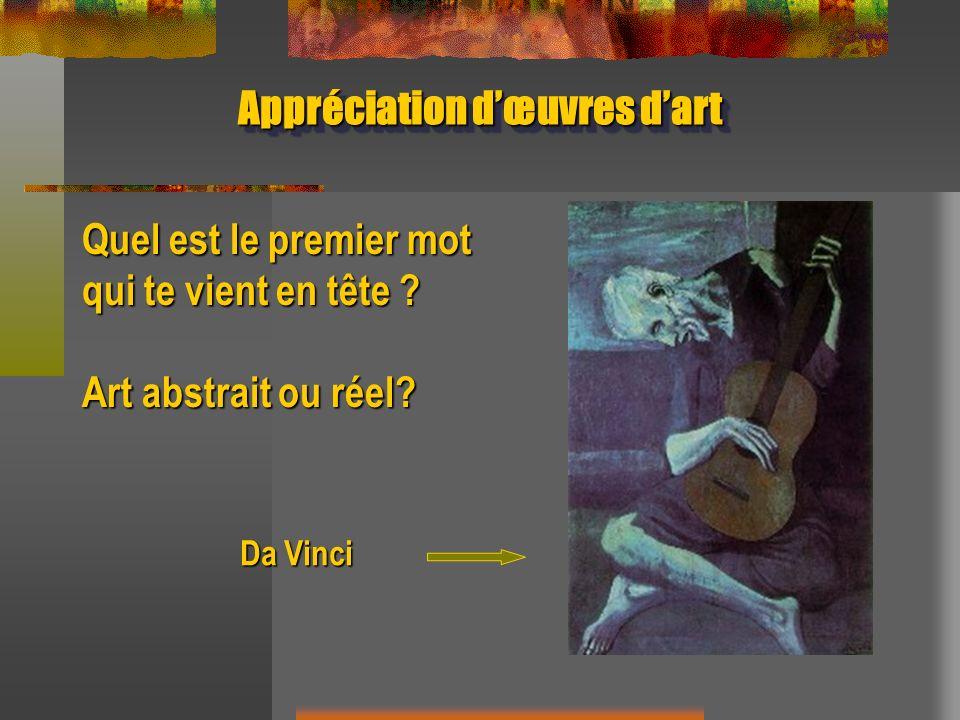 Appréciation dœuvres dart Quel est le premier mot qui te vient en tête ? Art abstrait ou réel? Da Vinci