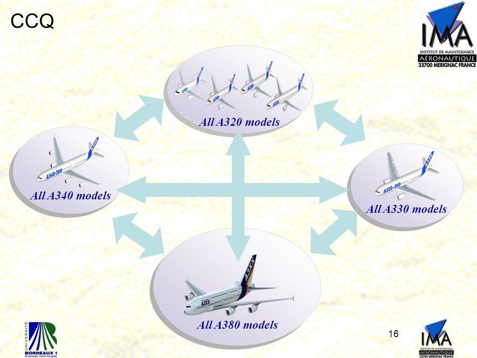 16 All A320 models All A330 models All A340 models All A380 models CCQ