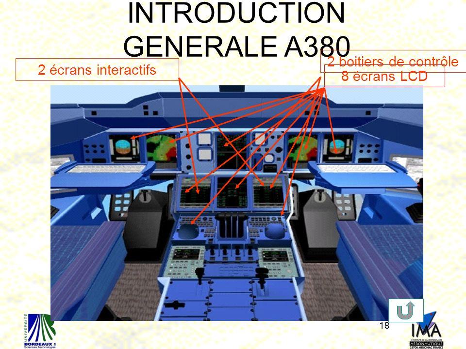 18 Organes de pilotage dans le cockpit INTRODUCTION GENERALE A380 8 écrans LCD2 boitiers de contrôle2 écrans interactifs