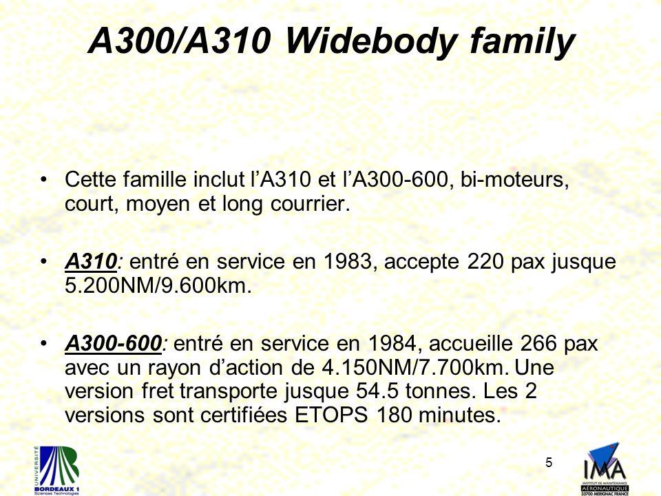 5 A300/A310 Widebody family Cette famille inclut lA310 et lA300-600, bi-moteurs, court, moyen et long courrier. A310: entré en service en 1983, accept