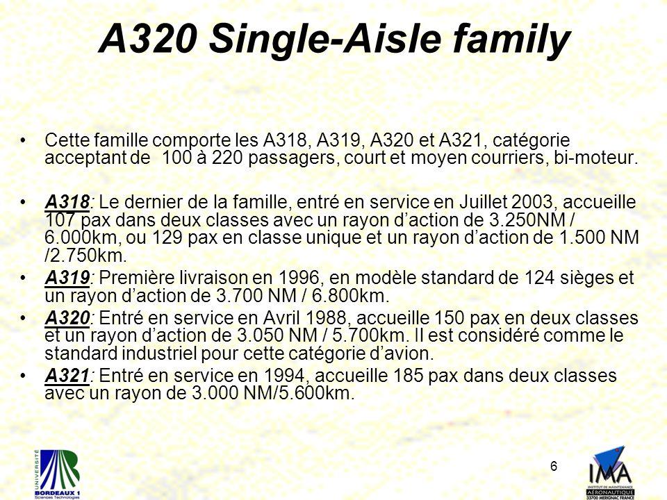 6 A320 Single-Aisle family Cette famille comporte les A318, A319, A320 et A321, catégorie acceptant de 100 à 220 passagers, court et moyen courriers,