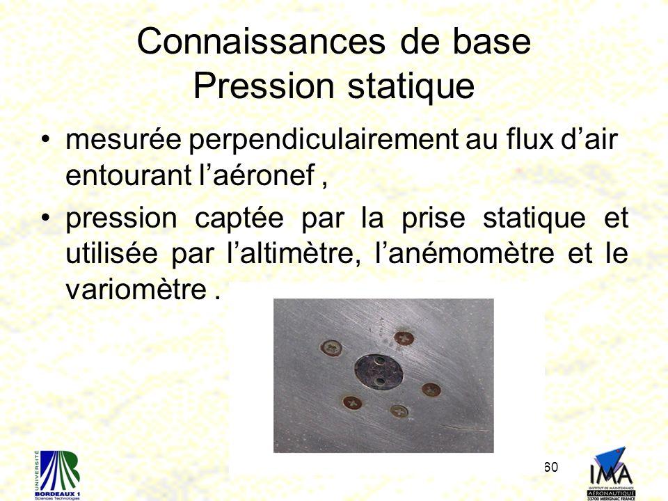 60 Connaissances de base Pression statique mesurée perpendiculairement au flux dair entourant laéronef, pression captée par la prise statique et utilisée par laltimètre, lanémomètre et le variomètre.