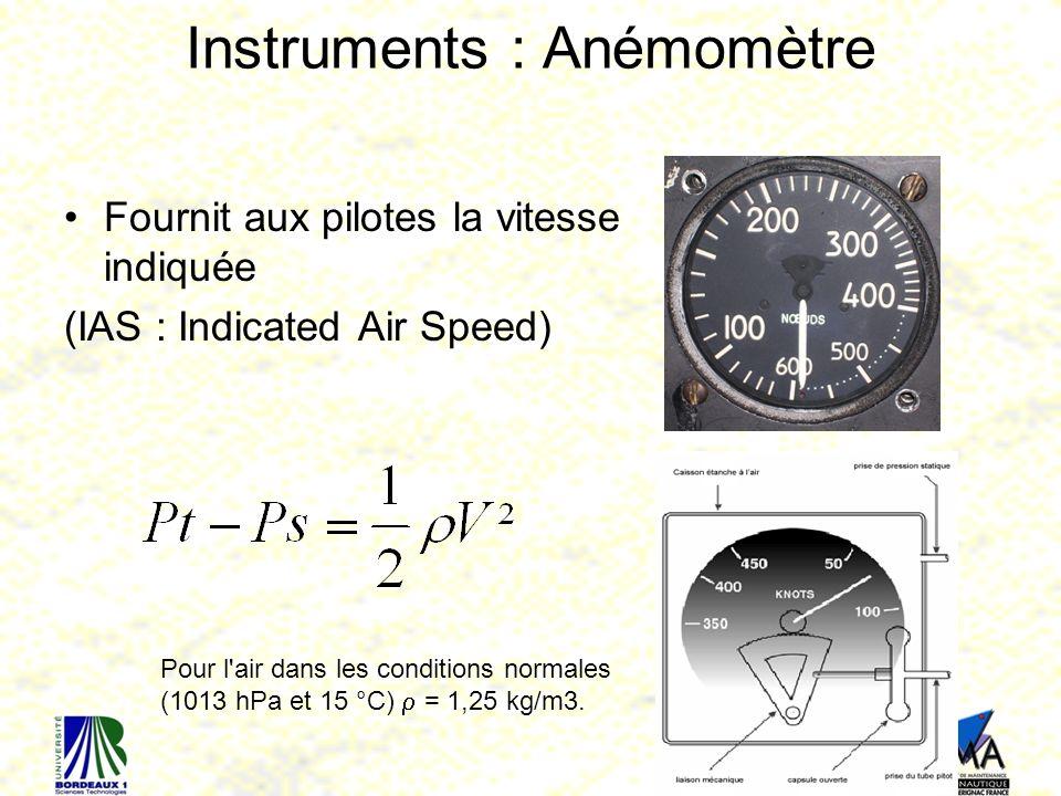 63 Instruments : Anémomètre Fournit aux pilotes la vitesse indiquée (IAS : Indicated Air Speed) Pour l air dans les conditions normales (1013 hPa et 15 °C) = 1,25 kg/m3.