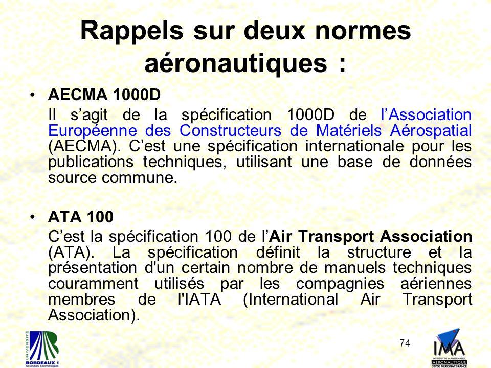 74 Rappels sur deux normes aéronautiques : AECMA 1000D Il sagit de la spécification 1000D de lAssociation Européenne des Constructeurs de Matériels Aé