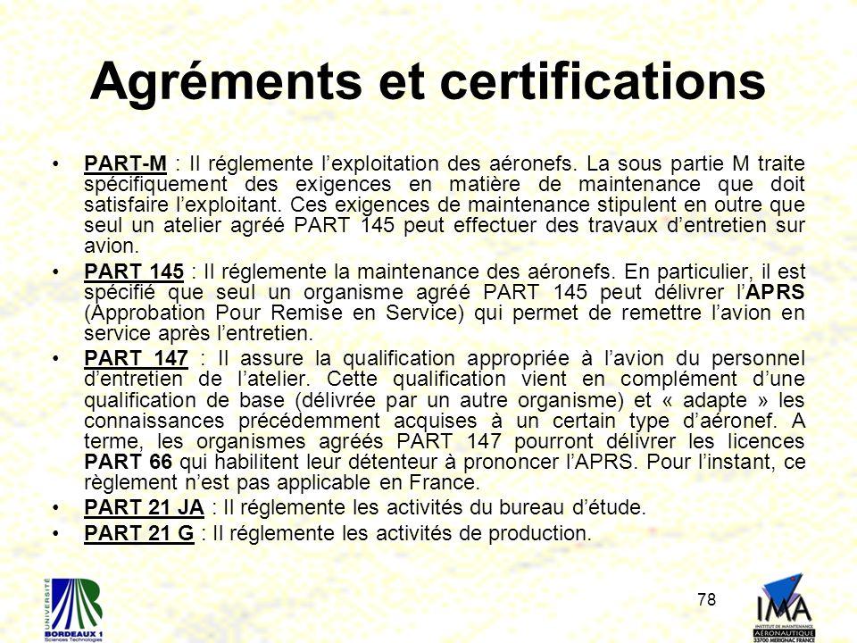 78 Agréments et certifications PART-M : Il réglemente lexploitation des aéronefs. La sous partie M traite spécifiquement des exigences en matière de m