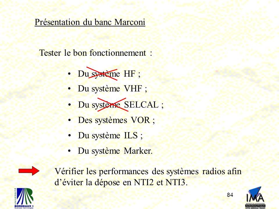 84 Présentation du banc Marconi Tester le bon fonctionnement : Du système HF ; Du système VHF ; Des systèmes VOR ; Du système SELCAL ; Du système ILS ; Du système Marker.