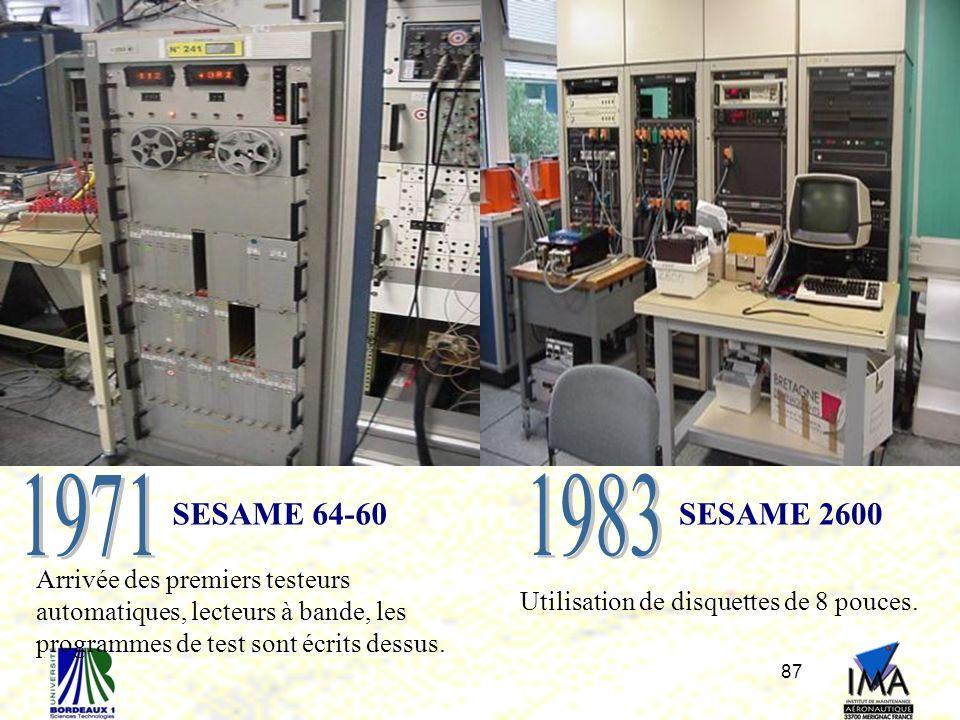 87 SESAME 64-60 Arrivée des premiers testeurs automatiques, lecteurs à bande, les programmes de test sont écrits dessus. SESAME 2600 Utilisation de di