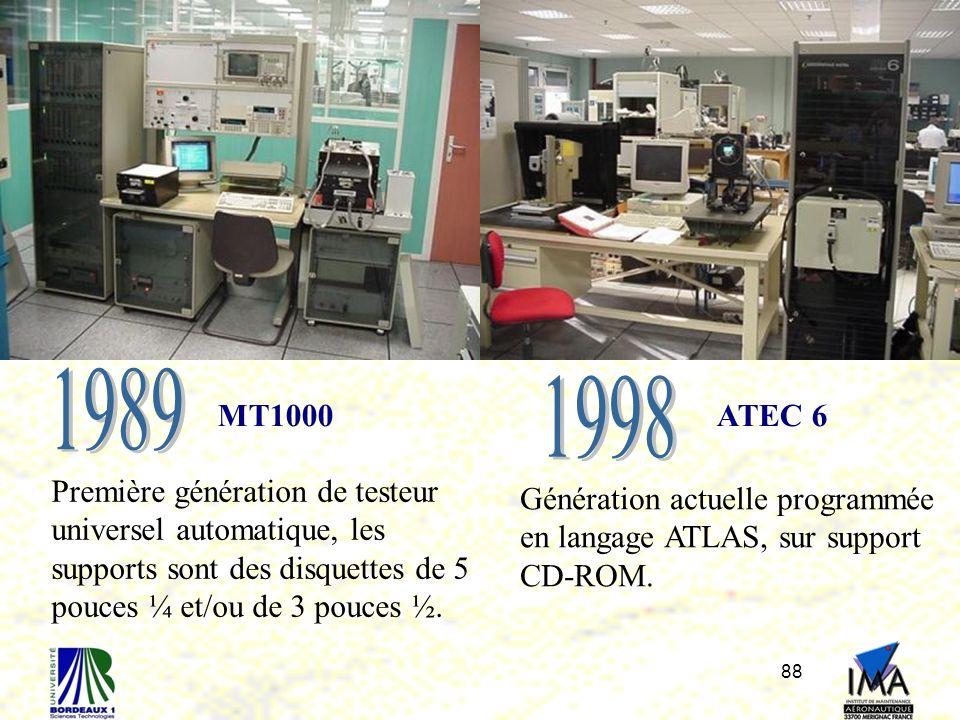 88 MT1000ATEC 6 Première génération de testeur universel automatique, les supports sont des disquettes de 5 pouces ¼ et/ou de 3 pouces ½. Génération a
