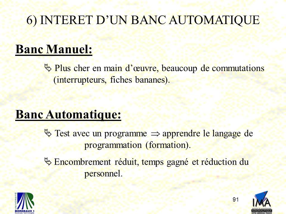 91 6) INTERET DUN BANC AUTOMATIQUE Banc Manuel: Plus cher en main dœuvre, beaucoup de commutations (interrupteurs, fiches bananes). Banc Automatique: