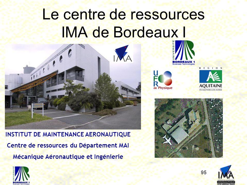 95 Le centre de ressources IMA de Bordeaux I INSTITUT DE MAINTENANCE AERONAUTIQUE Centre de ressources du Département MAI Mécanique Aéronautique et In