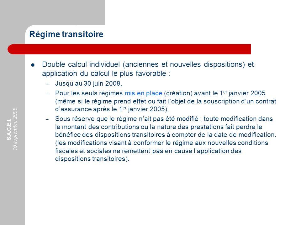 S.A.C.E.I. 15 septembre 2005 Régime transitoire Double calcul individuel (anciennes et nouvelles dispositions) et application du calcul le plus favora