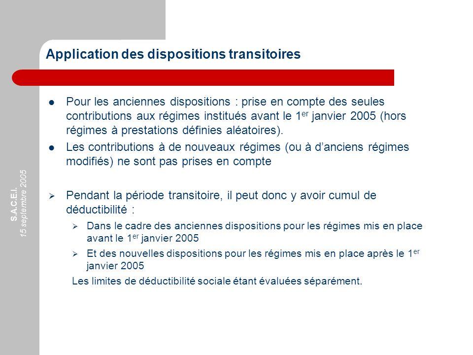 S.A.C.E.I. 15 septembre 2005 Application des dispositions transitoires Pour les anciennes dispositions : prise en compte des seules contributions aux