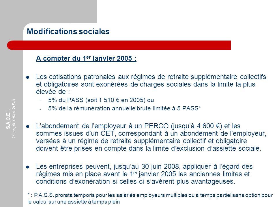 S.A.C.E.I. 15 septembre 2005 Modifications sociales A compter du 1 er janvier 2005 : Les cotisations patronales aux régimes de retraite supplémentaire