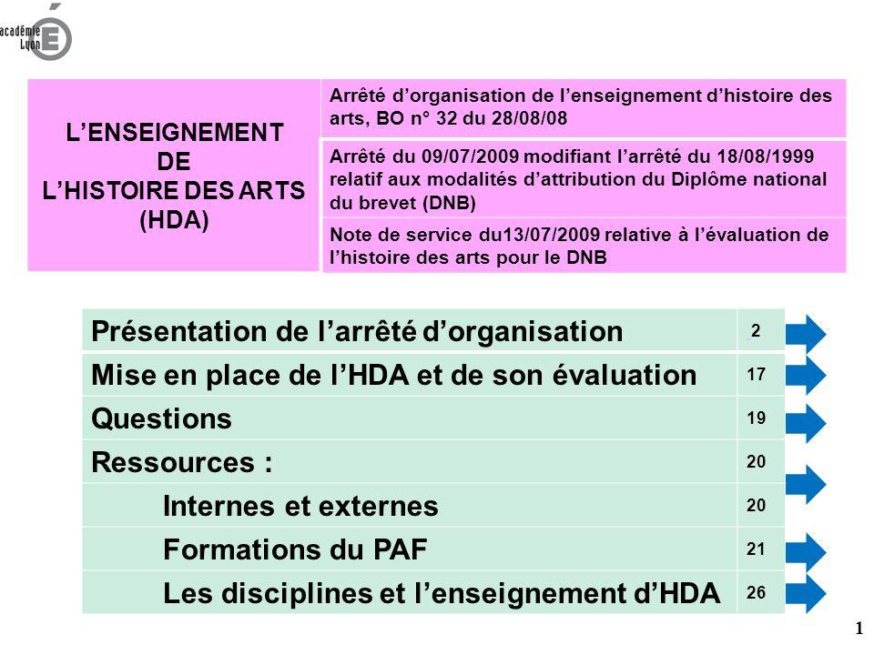 PROGRAMMES des DISCIPLINES SOCLE COMMUN DE CONNAISSANCES ET DE COMPETENCES ORGANISATION DE LENSEIGNEMENT DE LHISTOIRE DES ARTS 2