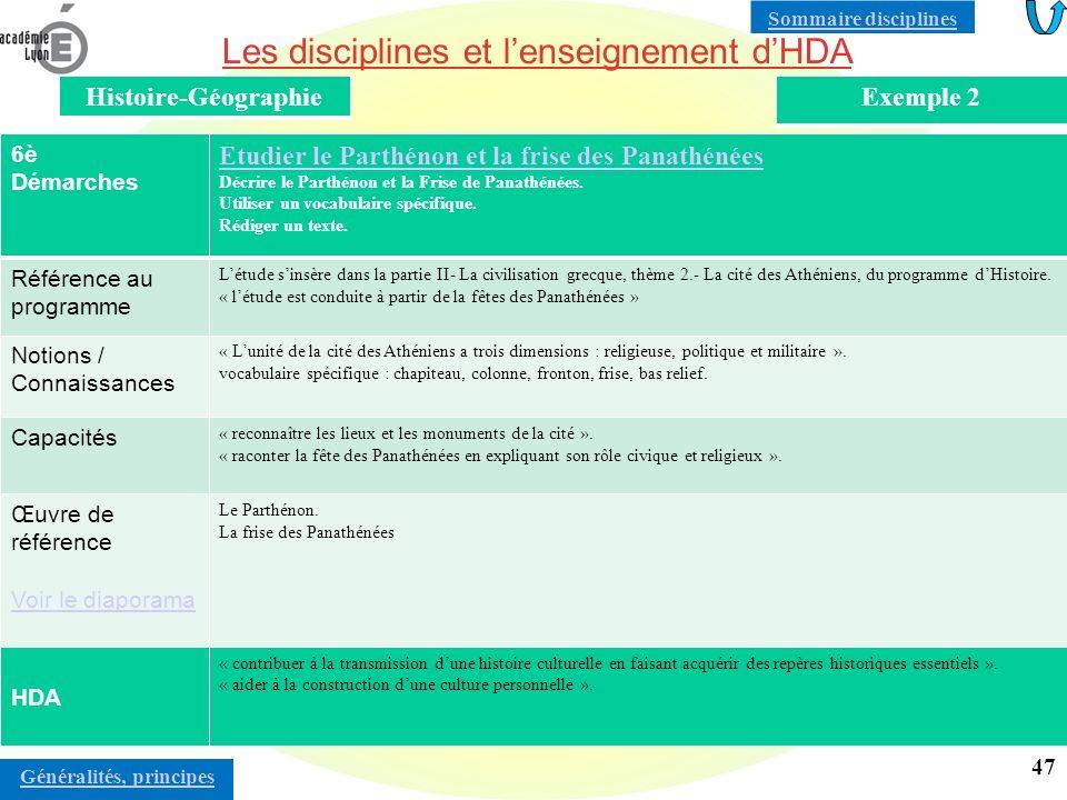 Les disciplines et lenseignement dHDA Histoire-GéographieExemple 3 4è / Lycée Démarches Tony Garnier et la cité industrielle Tony Garnier et la cité industrielle : du projet aux réalisations à Lyon.