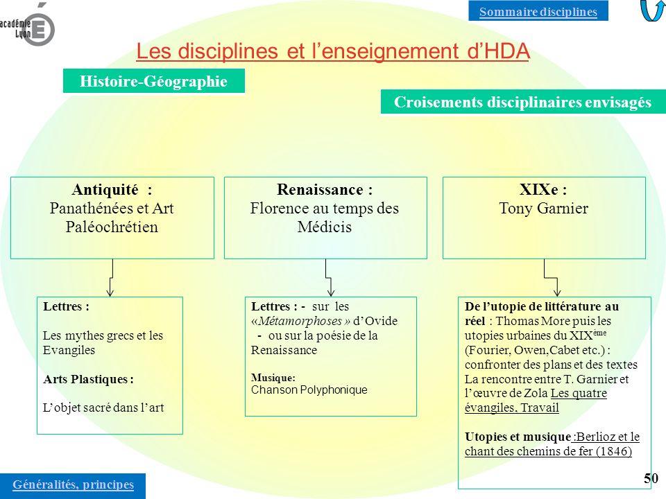 Les disciplines et lenseignement dHDA Les programmes de chaque discipline contiennent un volet HDA Dans le cours de langue, lapproche culturelle et lapproche linguistique entrent en synergie.